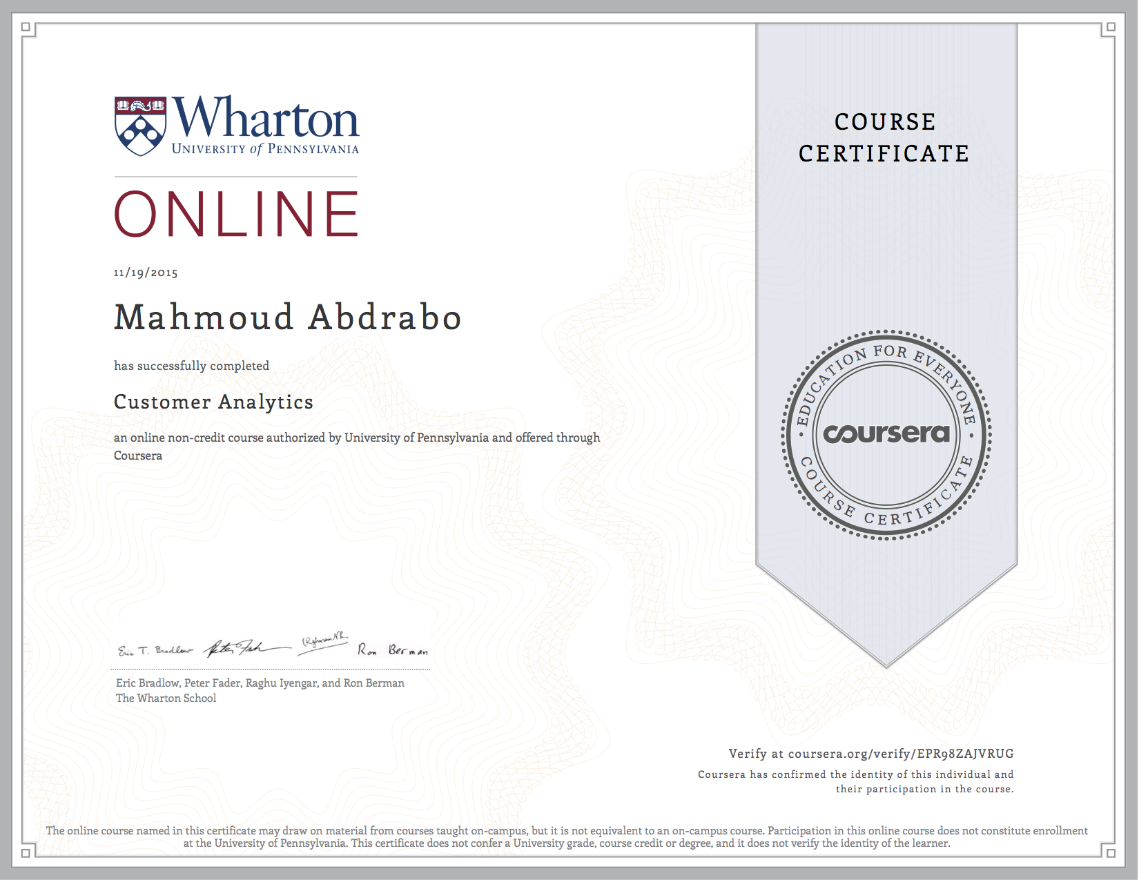 Fresh gallery of coursera certificate business cards and resume certifications mahmoud abdrabo yadclub Images