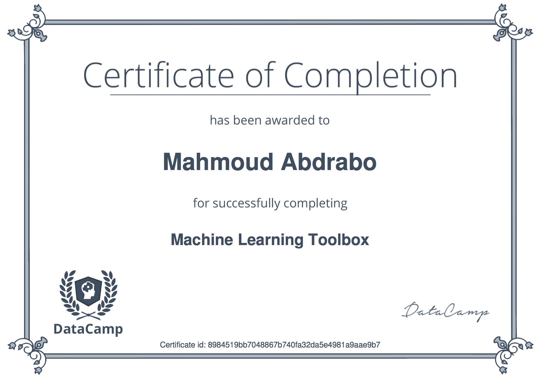Certifications Mahmoud Abdrabo